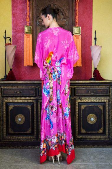 Tropical-Bird-Print-Long-Caftan-Dress-In-Pink