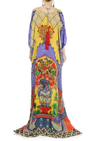 Yellow-Tapestry-Print-Long-Caftan