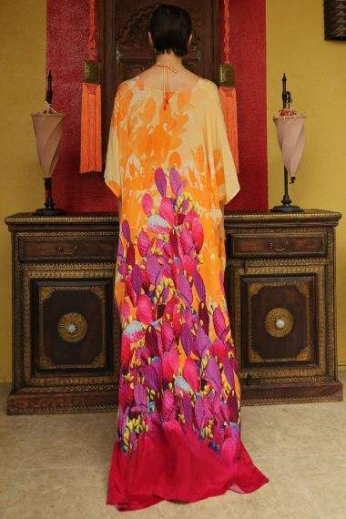 Long Caftan Dress in Orange