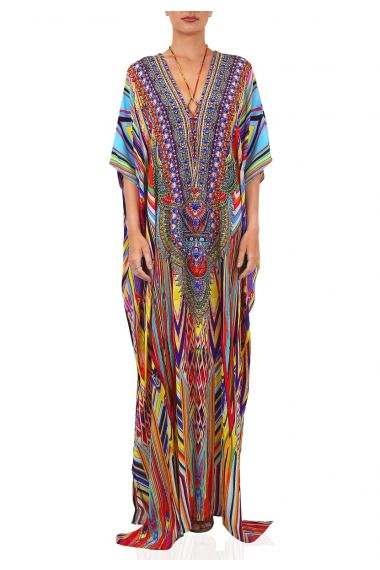 Embellished-long-caftan-in-multi-color-v-neck-caftan