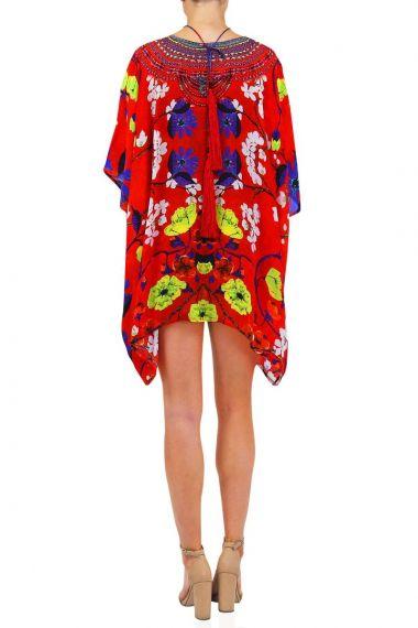 Short-caftan-dresses-V-neckline-Floral-print-caftan