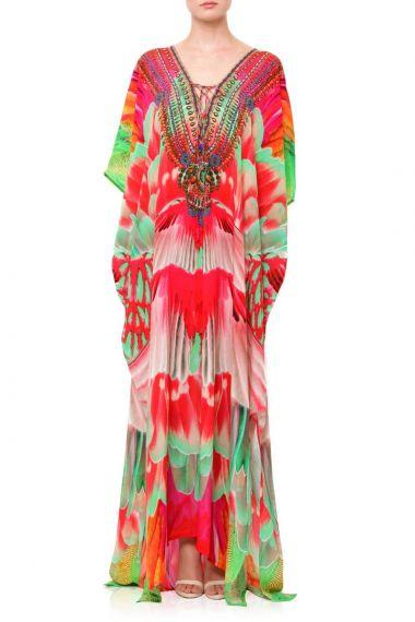 Bird-Print-Caftan-Dress