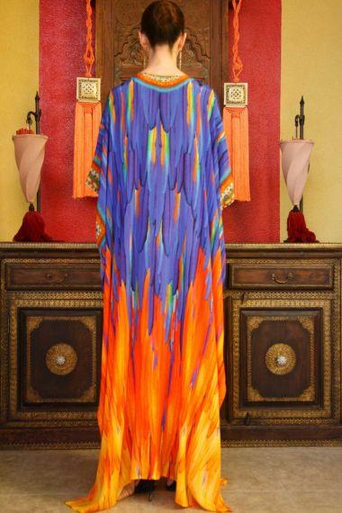 Bird-Print-Long-Caftan-Dress