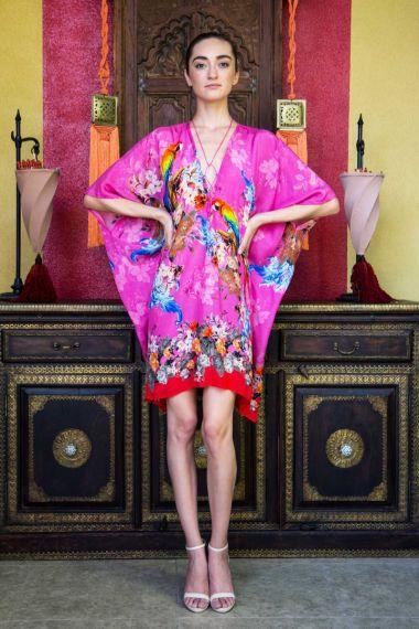 Bird-Print-Short-Caftan-Dress-For-Women