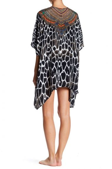 Black-Caftan-Dress-In-Animal-Print