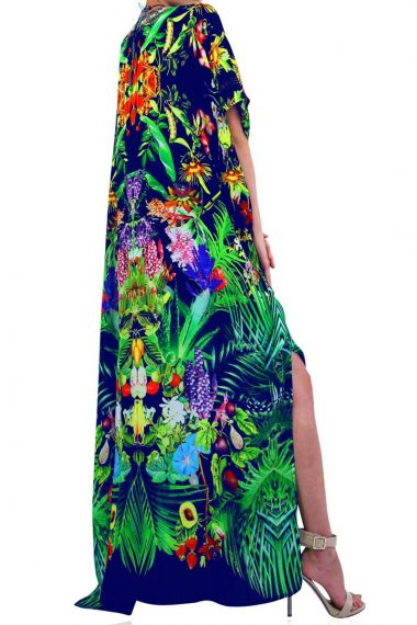 blue-caftan-dress-in-tropical-print