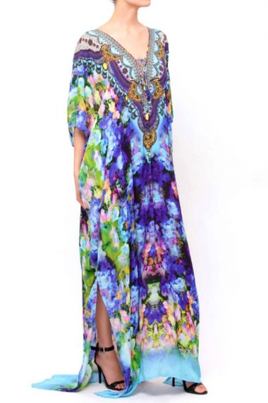 Blue-Caftan-Dress-Long-Floral-Print-Kaftan-Dresses-For-Women