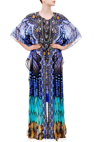 Blue-Printed-Caftan-Dress