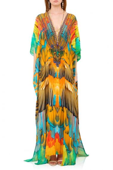 Convertible-Long-Caftan-Dress-In-Feather-Print