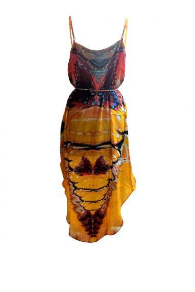 Designer-Hi-Low-Dresses-Printed-Yellow-Dresses