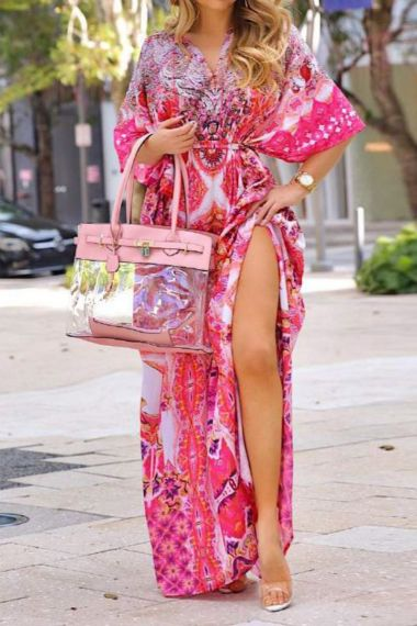 Designer-Long-Caftan-Dress-in-Pink