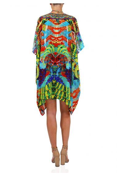 Designer-Snake-Print-Short-Caftan-Dress