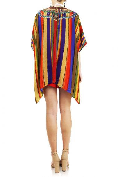 Embellished-Neck-Short-Caftan-Dress-For-Women