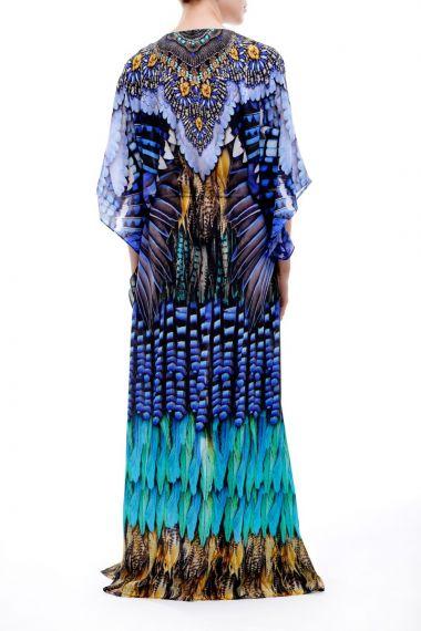 Feather-Print-Caftan-Dress