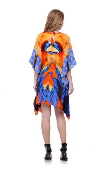 Feather-print-short-caftan-dress-designer-short-caftan-dresses