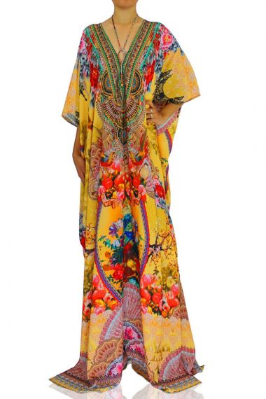Floral-Print-Caftan-Dress-Embellished-Caftan-Yellow-Long-Dress