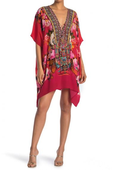 Floral-Print-Short-Caftan-Designer-Dress