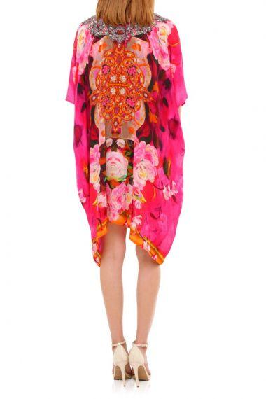 Fuchsia-Floral-Print-Short-Caftan
