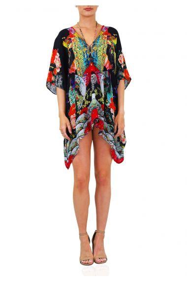 Geisha-Print-Women's-Short-Caftan-Dress