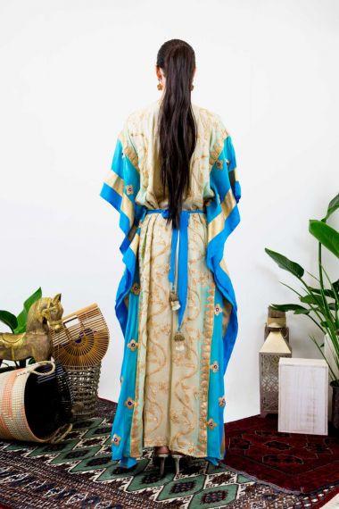 Gold-Floral-Print-Caftan-Dress