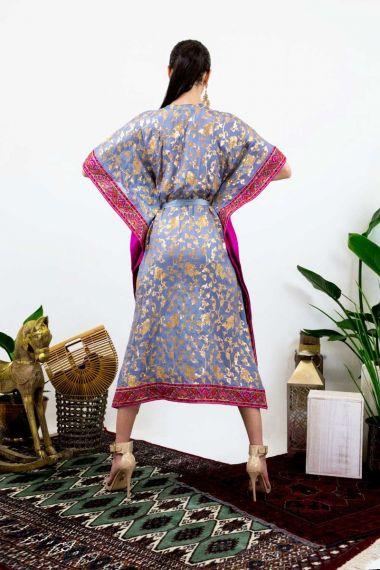 Grey-Embroidered-Floral-Caftan-Dress