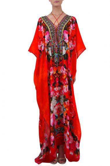 Lace-Up-Caftan-In-Floral-Print