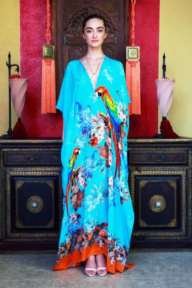 Light-Blue-Long-Printed-Silk-Caftan