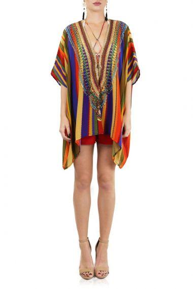Luxury-Caftan-Dress-For-Women-In-Rainbow-Stripe-Print