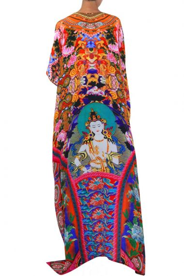 Mixed-Print-Long-Caftan-Dress