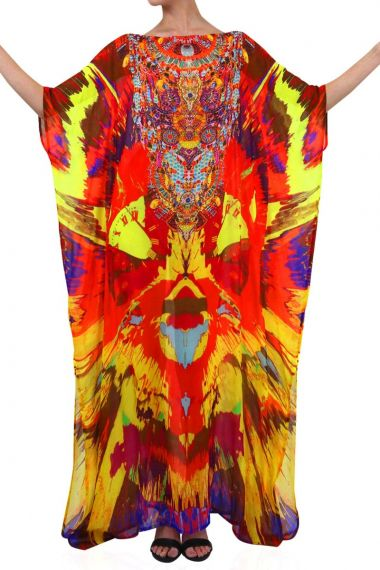 Orange-Caftan-Printed-Long-Dress-for-women
