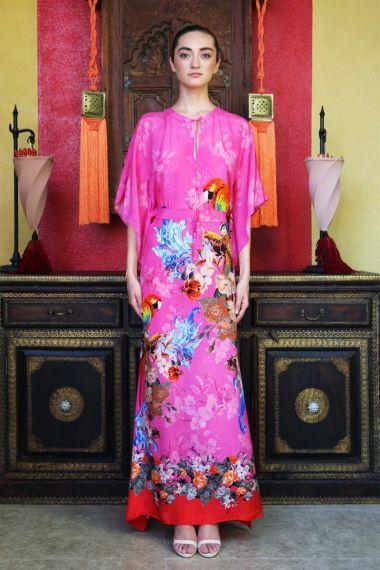 Long-Caftan-Dress-In-Tropical-Bird-Print