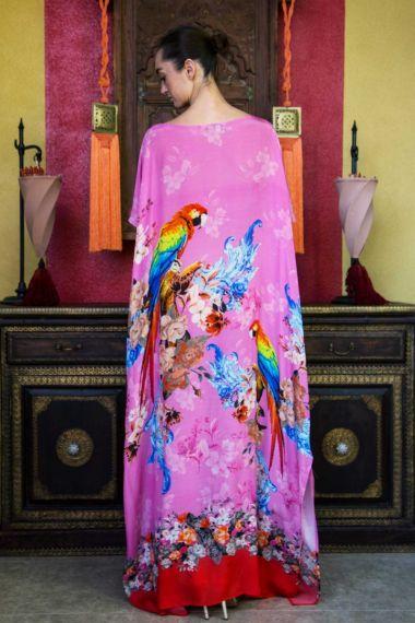Pink-Caftan-Dress-In-Tropical-Print