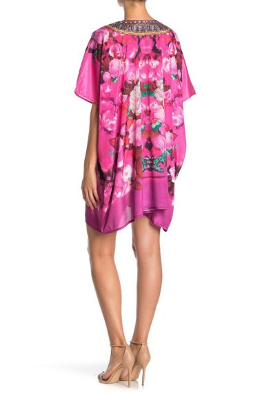 Pink-floral-print-short-caftan-dress