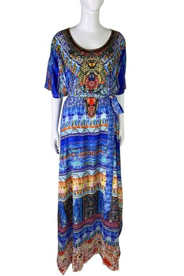 Printed-Long-Caftan-Dress-In-Blue