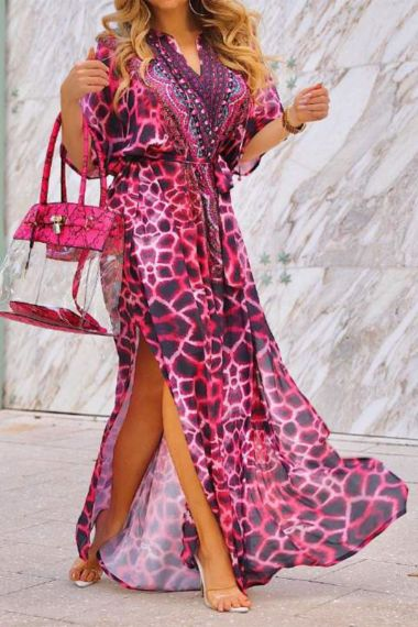 Red-Caftan-Printed-Long-Dress