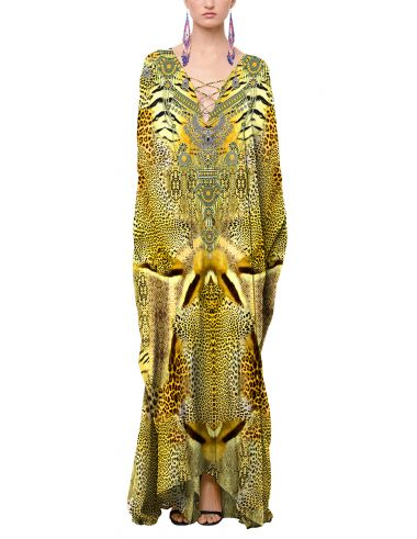 Leopard-print-caftan-dress-in-yellow-printed-caftan-dresses