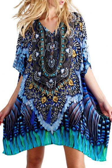 Short-Feather-Print-Caftan-Dress