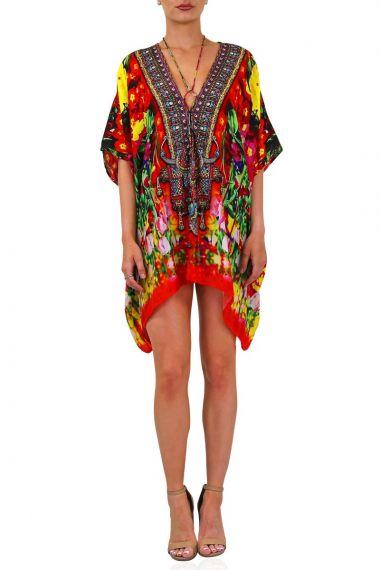 Silk-Floral-Print-Caftan-Dress