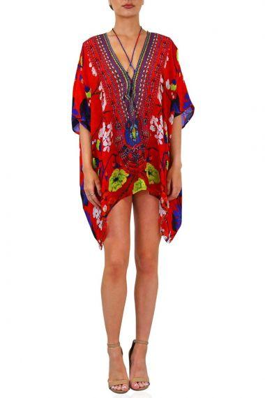 Plunging-neckline-caftan-printed-short-caftan-dresses