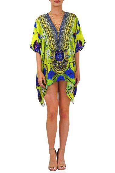 Floral-print-short-caftan-dress-with-plunging-neckline
