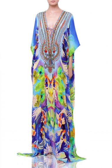 V-neck-designer-caftan-dress-printed-embellished-caftan