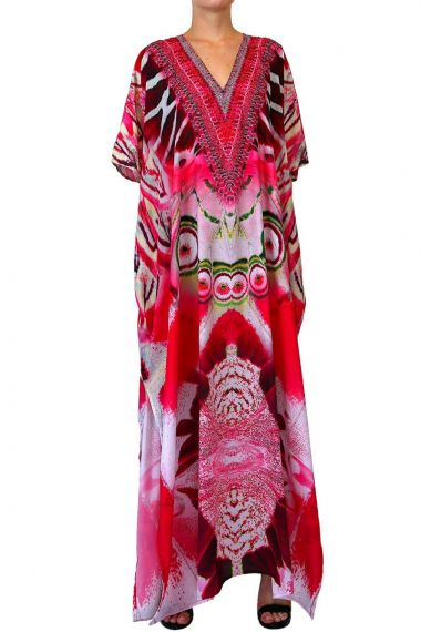 v-neck-dress-long-caftan-printed-dress-for-women