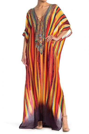 V-Neck-Long-Caftan-Dress-For-Women