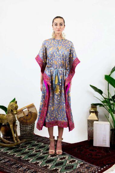 Women-Gold-Flower-Print-Caftan-Dress