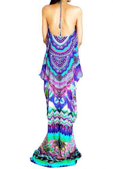 Women-Lace-Up-Caftan-Dress