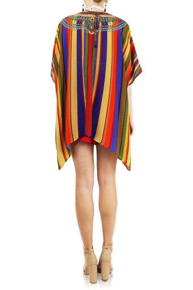 Women's-Designer-Caftan-Top-In-Rainbow-Stripe-Print