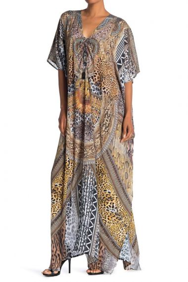 Women's-Long-Printed-Caftan-Dress