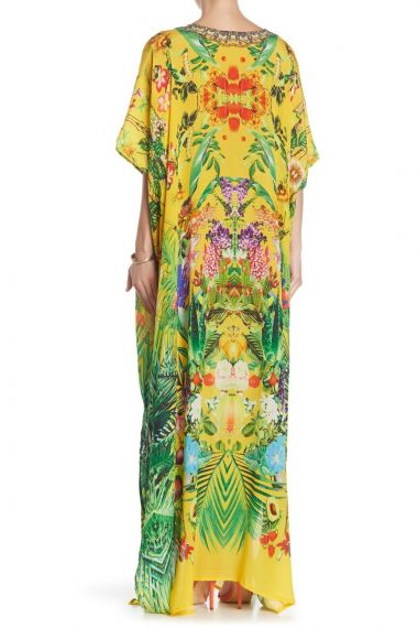 yellow-caftan-long-printed-dress