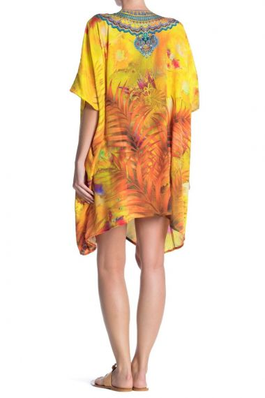 yellow-caftan-short-dress-for-women
